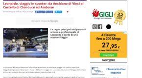 Nove da Firenze –  Leonardo, viaggio in scooter: da Anchiano di Vinci al Castello di Clos-Lucé ad Amboise
